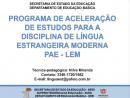 Programa de Aceleração de Estudos - LEM
